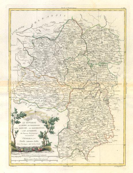 """Associate Product """"Li Governi del Berri… e dell'Auvergne"""". Berry. Central France. ZATTA 1779 map"""