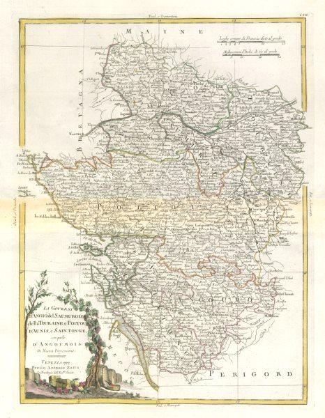 """Associate Product """"Li Governi d'Angio… della Touraine, e Poitou…"""" Western France. ZATTA 1779 map"""