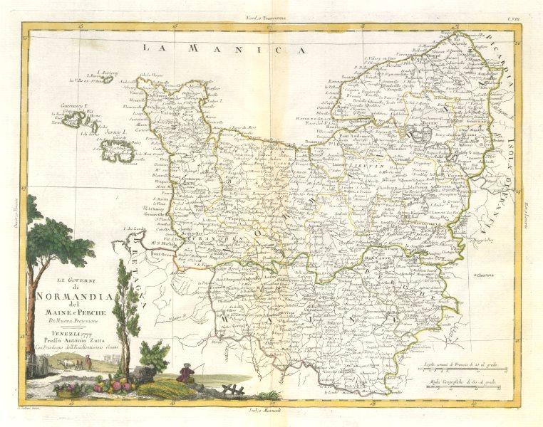 """Associate Product """"Li Governi di Normandia del Maine e Perche"""". Normandy Normandie. ZATTA 1779 map"""