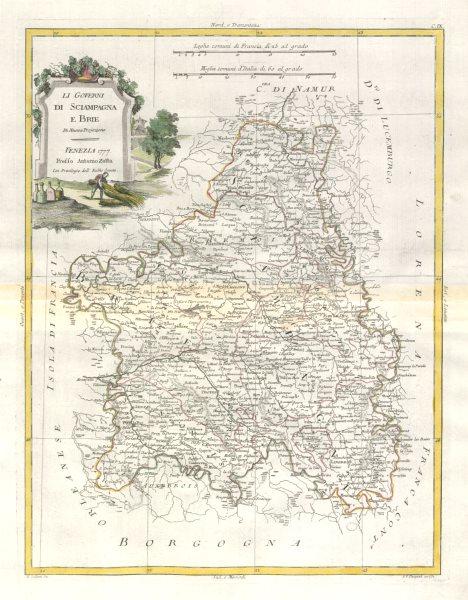 """Associate Product """"Li Governi di Sciampagna e Brie"""". Champagne & Brie. NE France. ZATTA 1779 map"""