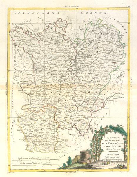 "Associate Product ""Li Governi di Borgogna…"" Burgundy Franche-Comté Lyonnais. ZATTA 1779 old map"