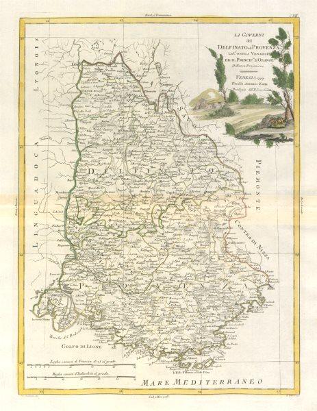 """Associate Product """"Li Governi del Delfinato edi Provenza…"""" Dauphiné & Provence. ZATTA 1779 map"""