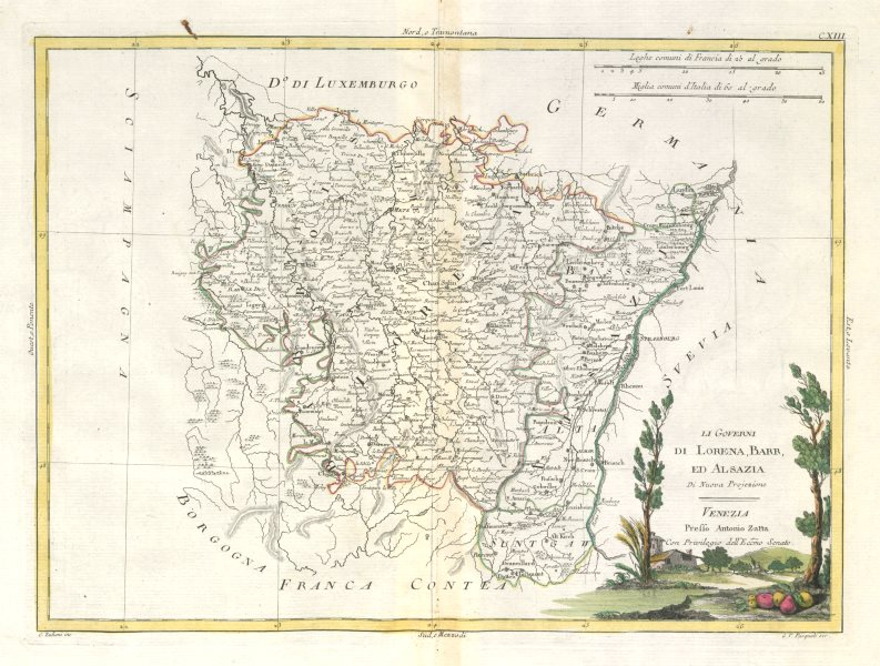 "Associate Product ""Li Governi di Lorena, Barr ed Alsazia"" Alsace Lorraine NE France ZATTA 1779 map"