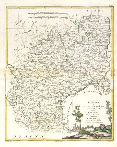 """Associate Product """"Li Governi di Linguadoca… di Rossiglione…"""" Languedoc Roussillon. ZATTA 1779 map"""