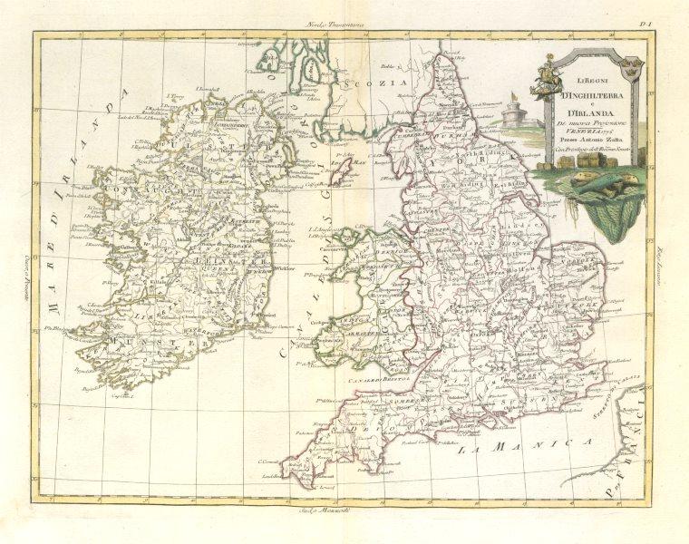 "Associate Product ""Li Regni d'Inghilterra e d'Irlanda"". England, Ireland & Wales. ZATTA 1779 map"