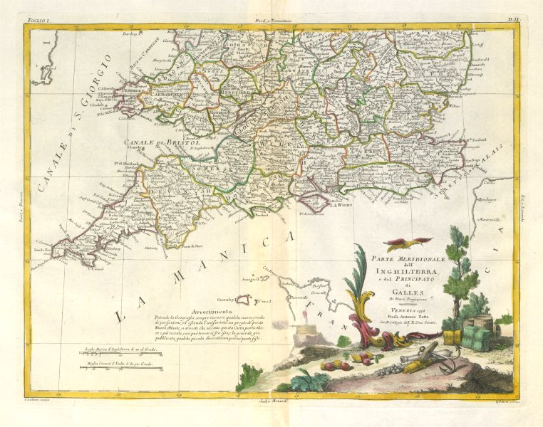 """Associate Product """"Parte Meridionale dell'Inghilterra…"""". Southern England & Wales. ZATTA 1779 map"""