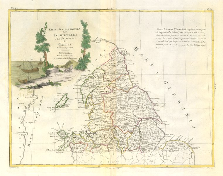 """Associate Product """"Parte Settentrionale dell'Inghilterra…"""" Northern England & Wales ZATTA 1779 map"""