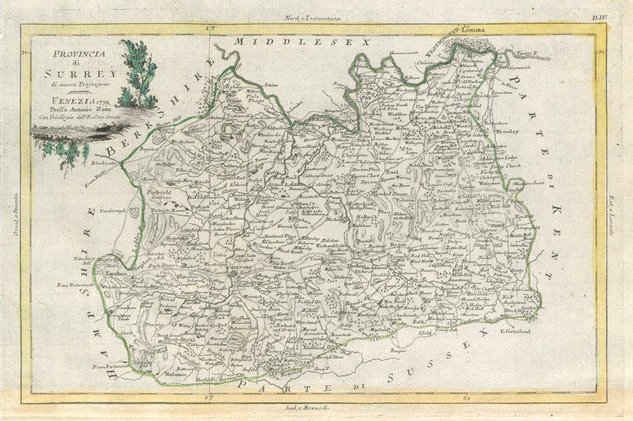 "Associate Product ""Provincia di Surrey"". Surrey county map. ZATTA 1779 old antique chart"