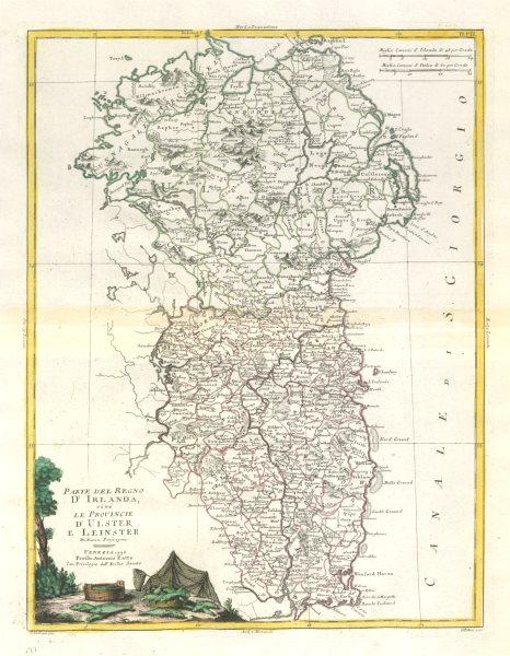 "Associate Product ""Parte del Regno d'Irlanda… Ulster e Leinster"". Eastern Ireland. ZATTA 1779 map"