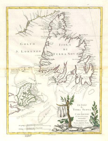 """Associate Product """"Le isole di Terra Nuova e Capo Breton"""" Newfoundland Cape Breton. ZATTA 1779 map"""