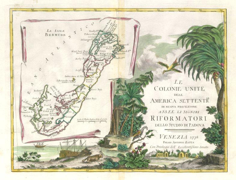 """""""Le Colonie Unite dell America Settentrale…"""". Bermuda. ZATTA 1779 old map"""