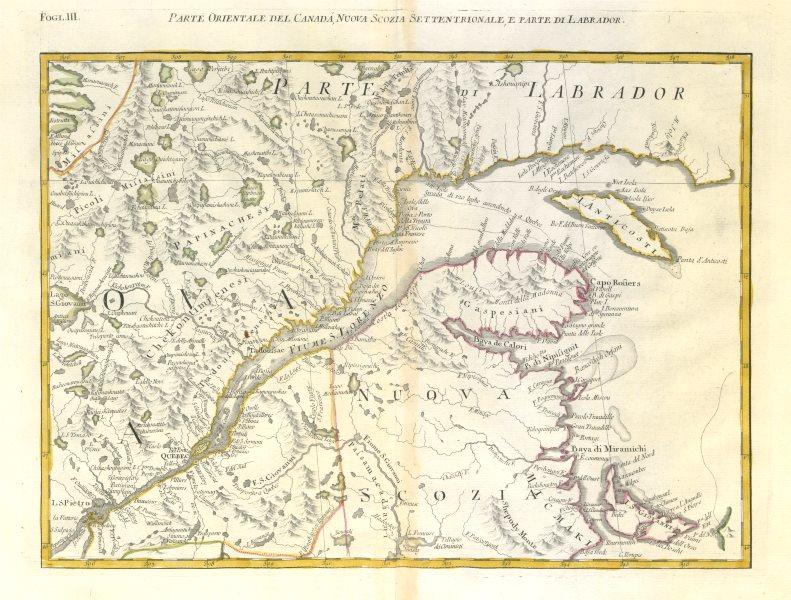 "Associate Product ""Parte Orientale del Canada…"". St Lawrence Quebec New Brunswick. ZATTA 1779 map"