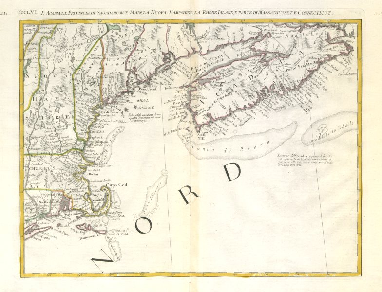 """Associate Product """"L'Acadia, le Provincie di Sagadahook…"""" New England, Nova Scotia. ZATTA 1779 map"""