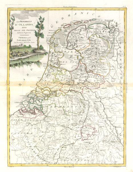 "Associate Product ""La Repubblica d'Ollanda…"". Holland. The Netherlands. ZATTA 1779 old map"