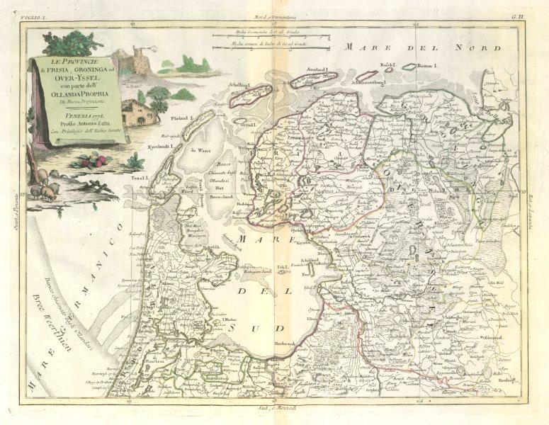 "Associate Product ""Le Provincie di Frisia, Groninga ed Over-Yssel…"" N. Netherlands. ZATTA 1779 map"