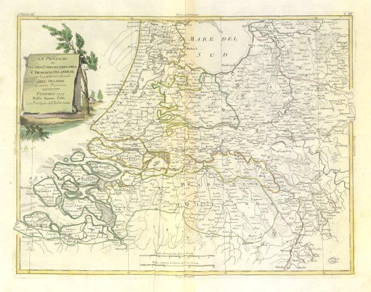 "Associate Product ""Le Provincie di Zelanda, Utrecht, Gheldria…"" Netherlands South. ZATTA 1779 map"