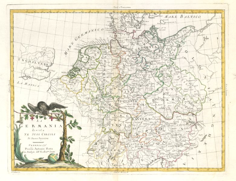 """Associate Product """"La Germania divisa ne suoi Circoli"""" Germany in Imperial Circles. ZATTA 1783 map"""