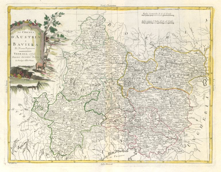 "Associate Product ""Circoli d'Austria e Baviera"". Austria Bavaria Slovenia Südtirol. ZATTA 1783 map"