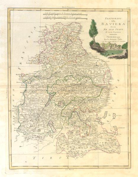 """Associate Product """"Elettorato della Baviera divisa ne suoi stati"""". Bavaria. ZATTA 1783 old map"""