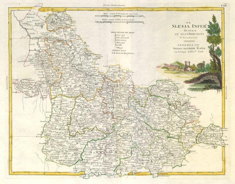 "Associate Product ""La Slesia Inferiore…"". Lower Silesia. South western Poland. ZATTA 1783 map"