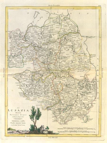 "Associate Product ""La Lusazia divisa ne suoi stati"". Lusatia. Germany / Poland. ZATTA 1783 map"