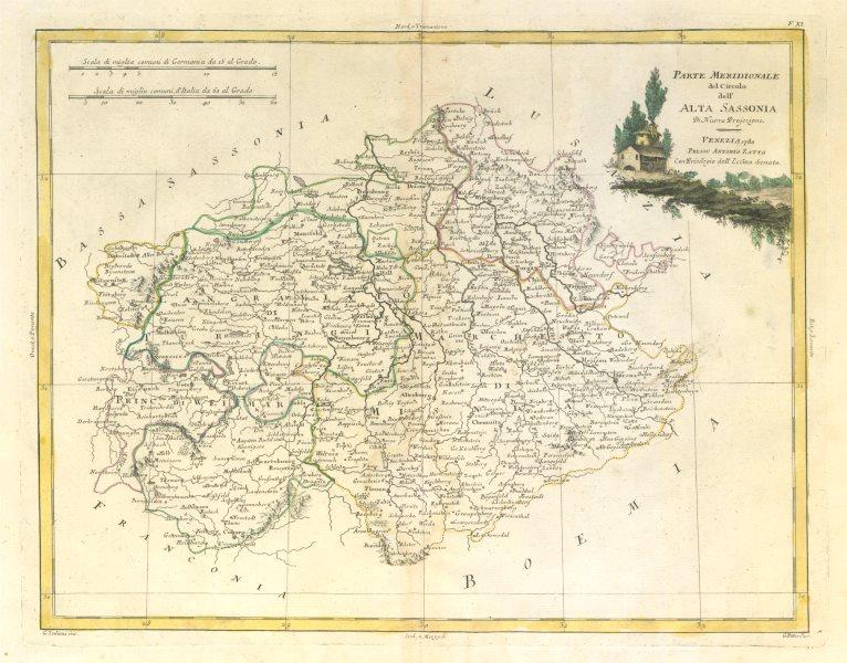 """Associate Product """"Parte Meridionale del Circolo dell' Alta Sassonia"""". Thuringia. ZATTA 1783 map"""