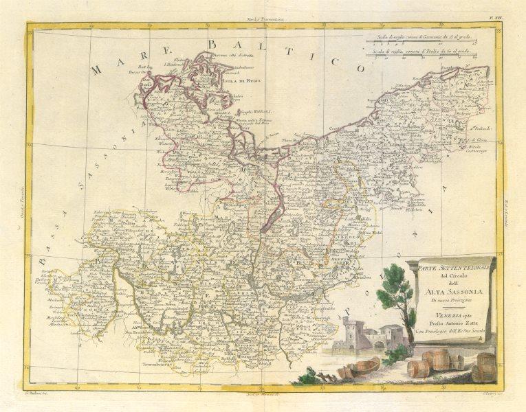 "Associate Product ""Parte Settentrionale del… Alta Sassonia"". Brandenburg Pomerania. ZATTA 1783 map"