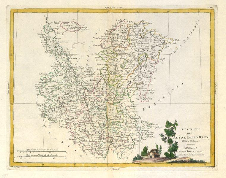 """Associate Product """"Li Circoli dell' Alto, e Basso Reno"""" Western Germany. Rheinland. ZATTA 1783 map"""