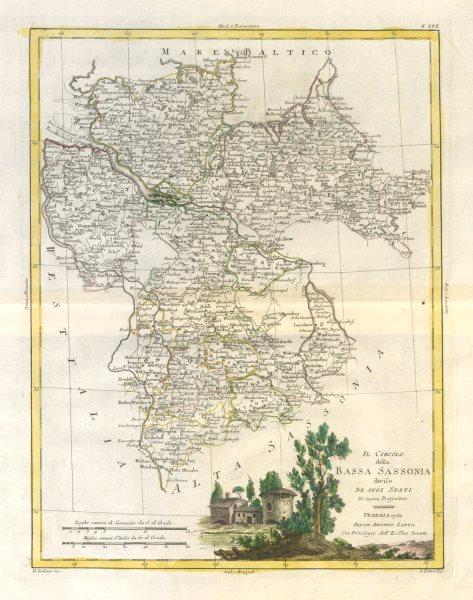 """Associate Product """"Il Circolo della Bassa Sassonia…"""". NW Germany. Niedersachsen. ZATTA 1783 map"""