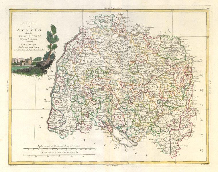 "Associate Product ""Circolo di Svevia…"". Swabia. Baden-Württemberg. SW Germany. ZATTA 1783 map"