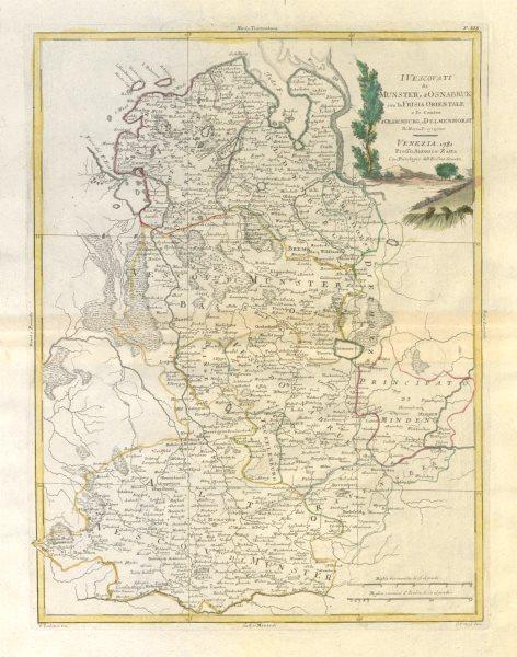 """Associate Product """"Ivescovati di Munster, e d'Osnabruk…"""". NW Germany. Lower Saxony. ZATTA 1783 map"""