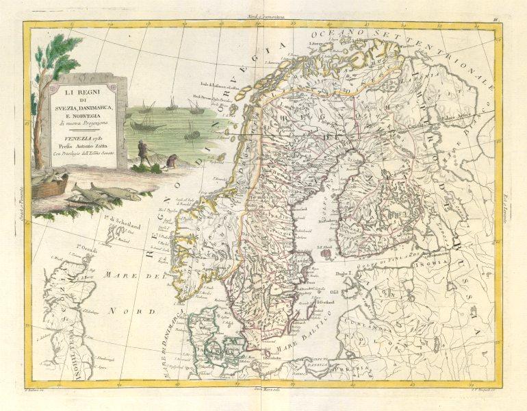 "Associate Product ""Li Regni di Svezia, Danimarca e Norvegia"". Scandinavia. Sweden. ZATTA 1783 map"