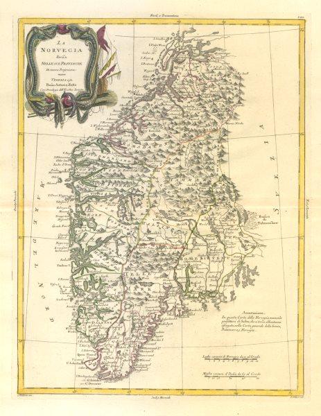 "Associate Product ""La Norvegia divisa nelle sue provincie"". Norway. ZATTA 1783 old antique map"