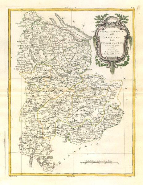 """Parte Orientale dell'Elvezia…"". Eastern Switzerland. ZATTA 1783 old map"