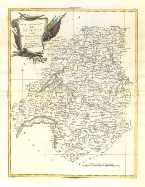 "Associate Product ""Parte Occidentale dell'Elvezia…"". Western Switzerland. ZATTA 1783 old map"