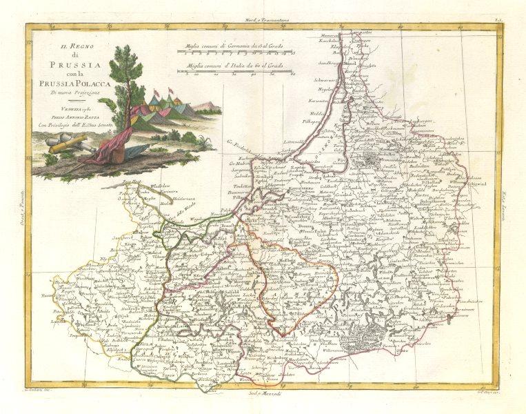 """Associate Product """"Il Regno di Prussia con la Prussia Polacca"""" NE Poland Lithuania. ZATTA 1783 map"""