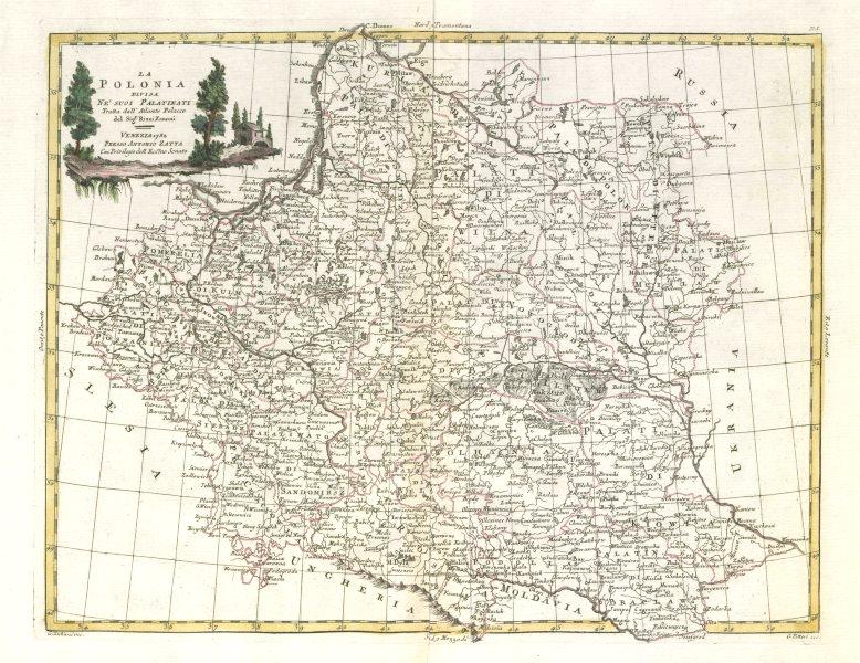 """""""La Polonia divisa ne' suoi Palatinati…"""". Poland Lithuania &c. ZATTA 1783 map"""