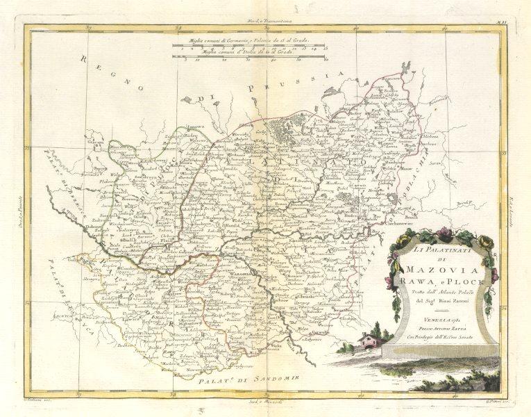 """Associate Product """"Li Palatinati di Mazovia Rawa, e Plock…"""" Poland. Warsaw Masovia. ZATTA 1783 map"""