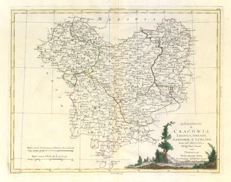 "Associate Product ""Li Palatinati di Cracowia, Lekzyca, Sieradz…"" SE Poland. Krakow. ZATTA 1783 map"