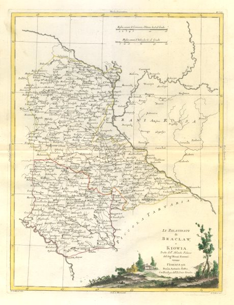 """Associate Product """"Li Palatinati di Braclaw, e Kiowia"""". West central Ukraine. Kiev. ZATTA 1783 map"""