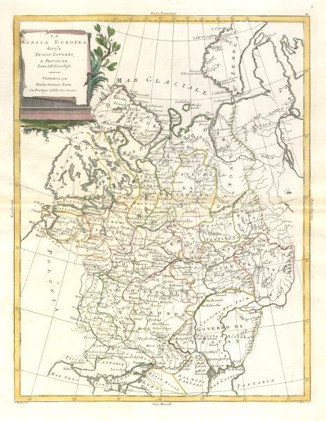 "Associate Product ""La Russia Europea…"". European Russia. ZATTA 1783 old antique map plan chart"
