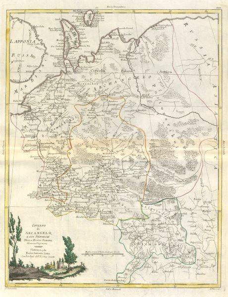 """Associate Product """"Governo di Arcangelo e… Russia Europea"""". Archangel North Russia. ZATTA 1783 map"""