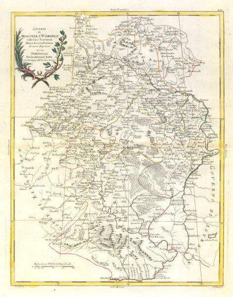 """Associate Product """"Governi di Moscovia e Woronez…"""". Moscow Governorate. Voronezh. ZATTA 1783 map"""
