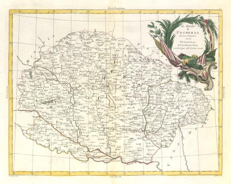 "Associate Product ""Il Regno di Ungheria"". Kingdom of Hungary. ZATTA 1783 old antique map chart"