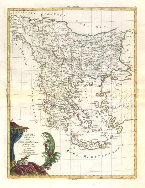 "Associate Product ""Turchia d'Europa…"" Turkey in Europe. Balkans Greece Bulgaria &c. ZATTA 1783 map"