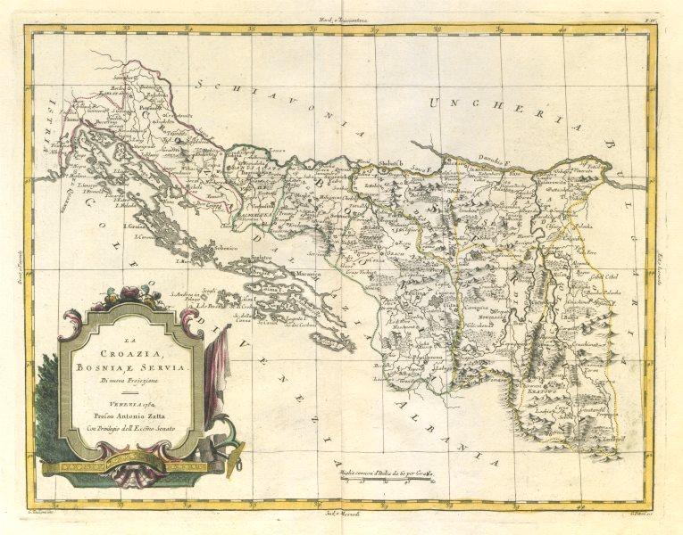 "Associate Product ""La Croazia, Bosnia, e Servia"". Croatia, Bosnia & Serbia. ZATTA 1783 old map"