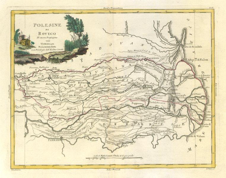 """""""Polesine di Rovigo"""". River Po delta region. Veneto, Italy. ZATTA 1784 old map"""