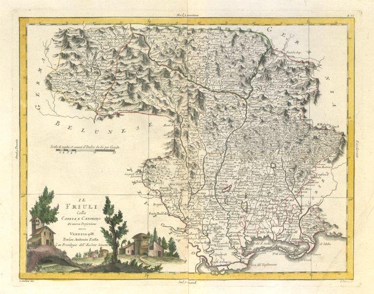 """Associate Product """"Il Friuli colla Carnia e Cadorino"""". North-east Italy. ZATTA 1784 old map"""