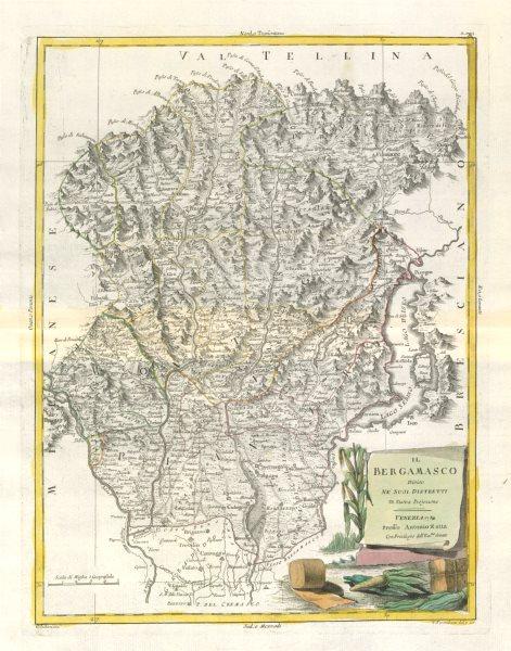"Associate Product ""Il Bergamasco diviso…"". Bergamo province. Lake Iseo. ZATTA 1784 old map"