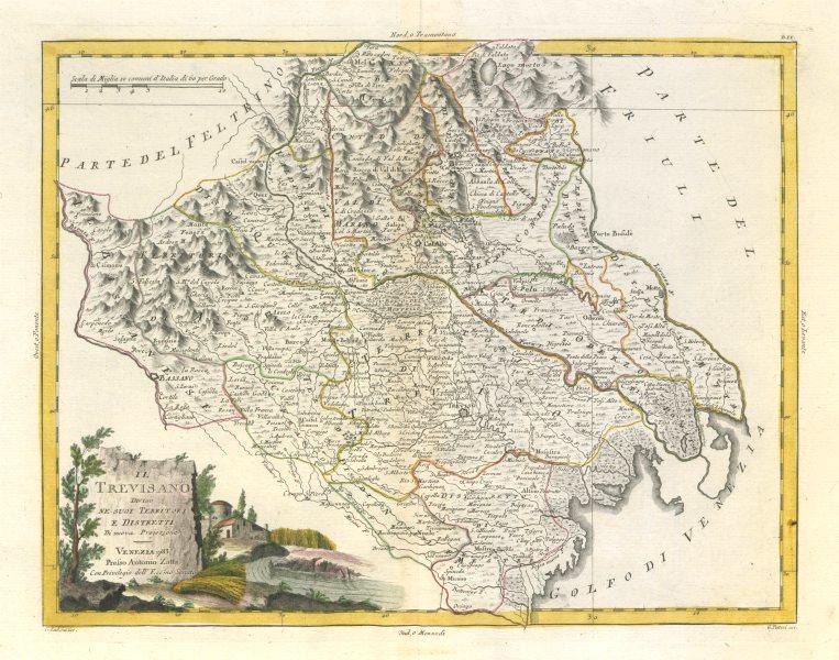 """Associate Product """"Il Trevisano diviso ne suoi territori e distretti"""". Treviso. ZATTA 1784 map"""